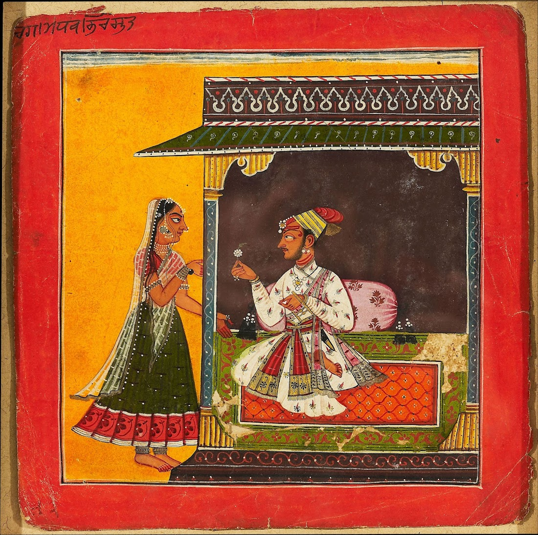 A Prince Seated within a Palace Chamber and Greets a Lady
