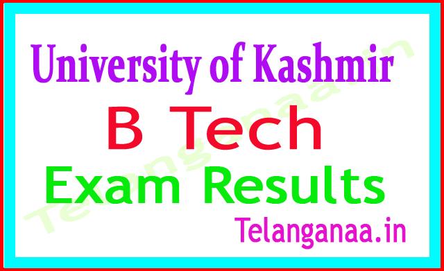 University of Kashmir B Tech 8th Sem 2018 Exam Results