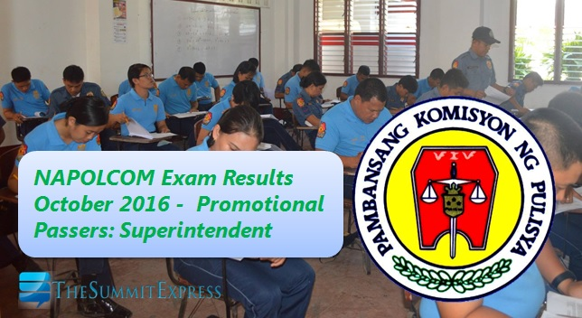 Superintendent List of Passers: October 2016 NAPOLCOM exam results
