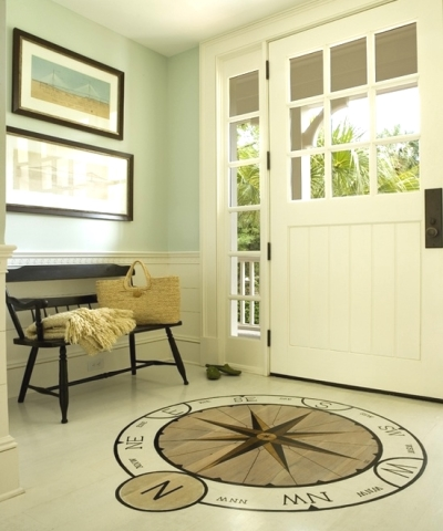 nautical entryway decor idea with floor compass rose