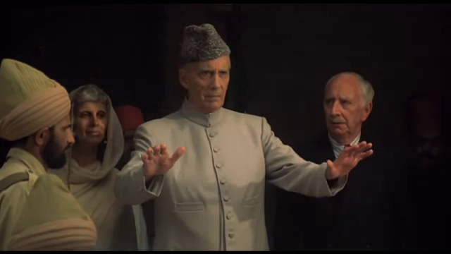 Sir Christopher Lee as Muhammad Ali Jinnah, with his sister and confidante Fatima Jinnah (played by Shireen Shah), in Jinnah, Directed by Jamil Dehlavi