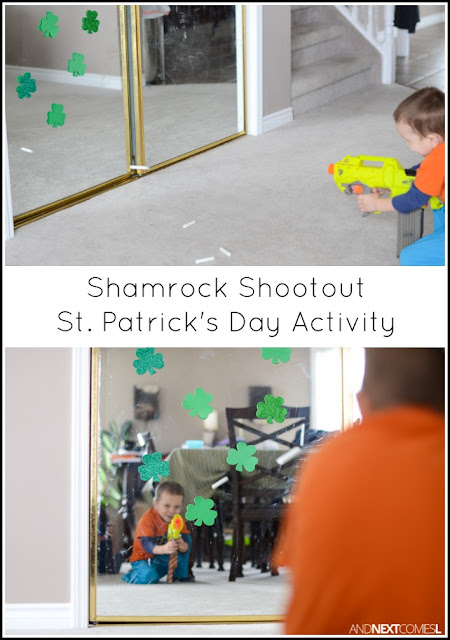 Shamrock shootout St. Patrick's Day activity for kids from And Next Comes L