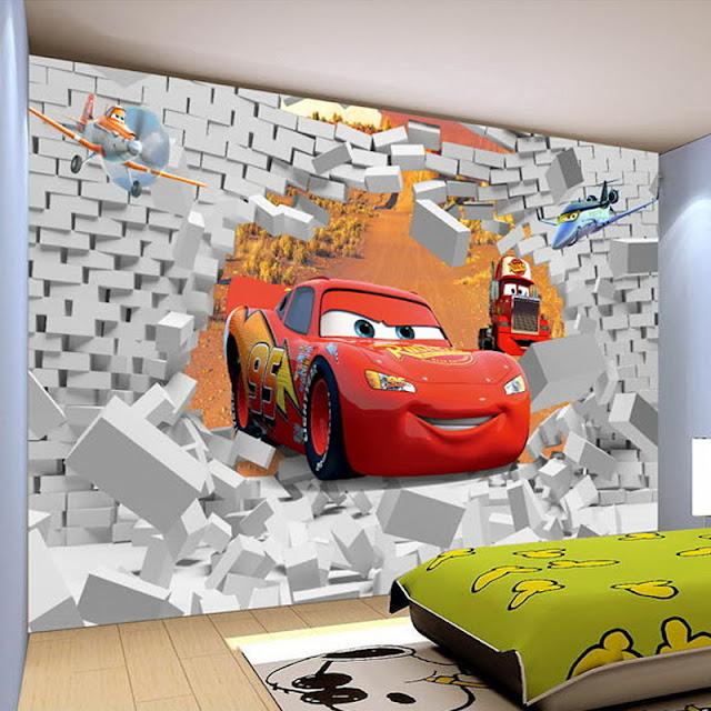 Fototapet barn cars bilar disney 3d tapet barnrum barntapeter