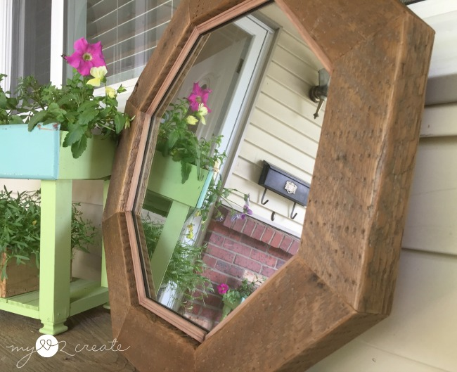 How to make a rustic Octagon Mirror, tutorial at MyLove2Create