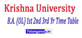 Krishna University B.A. (OL) 1st 2nd 3rd Yr Time Table 2017