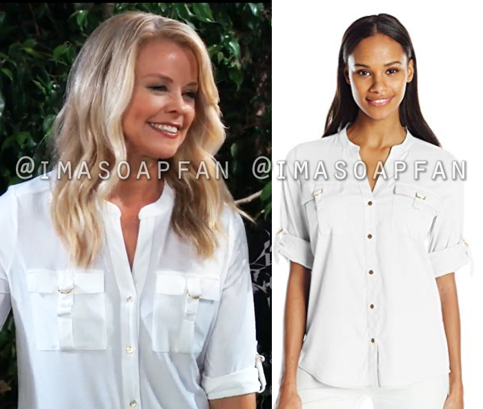 Felicia Scorpio, Kristina Wagner, White D-Ring Pocket Blouse, General Hospital, GH