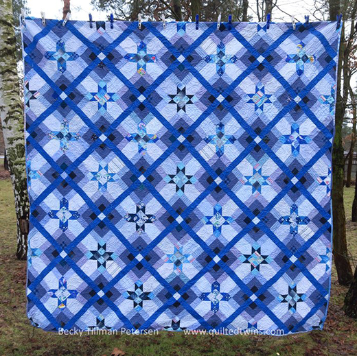 Star Crossed Quilt Free Pattern Designed by Becky Tillman of Quilted Twins