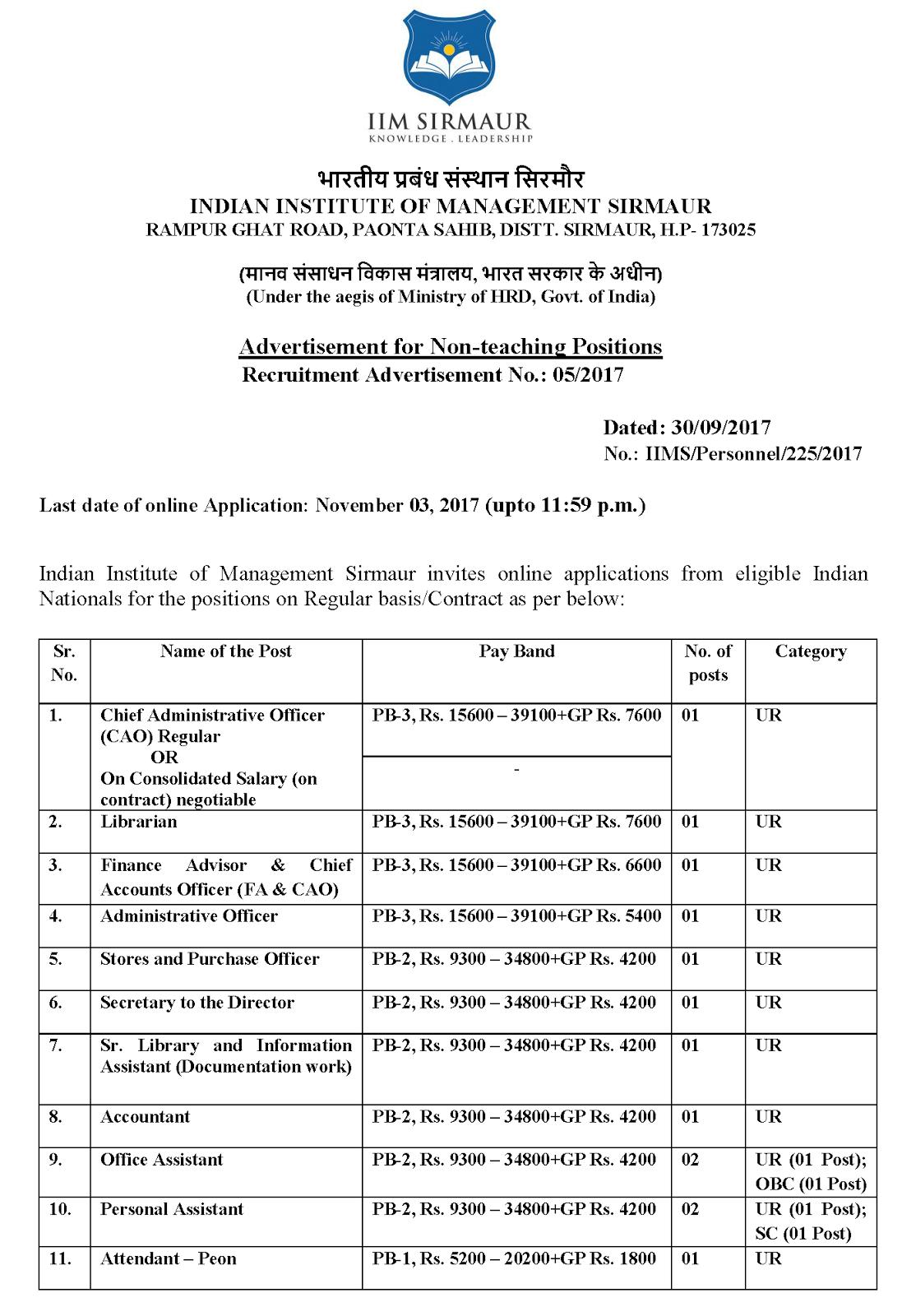 Librarian and slia vacancy at iim sirmaur himachal pradesh