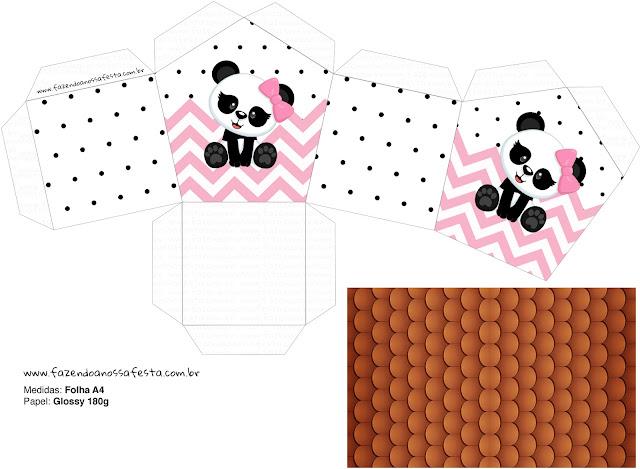 Panda Bebé Zigzag Rosa: Caja con Forma de Casa para Imprimir Gratis.