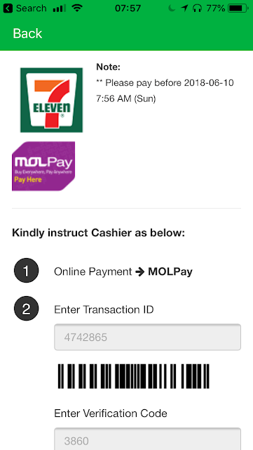 GrabPay 7-11 top-up instructions