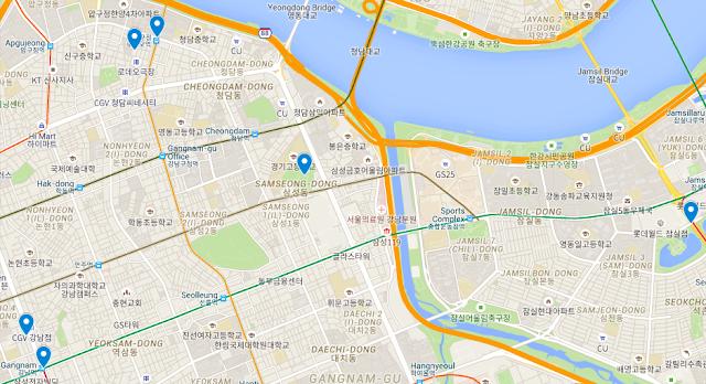 gangnam map mes gambettes à séoul