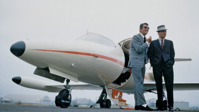 Dean Martin and Frank Sinatra with a private jet