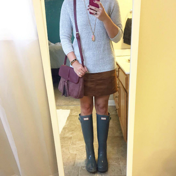 hunter boots, suede skirt