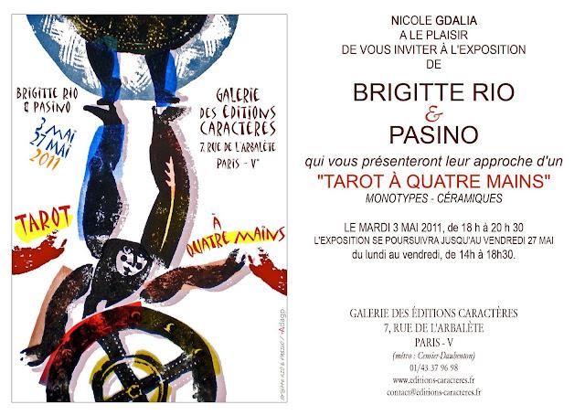 Galerie Caractère, Paris, exposition Tarot, estampes colorées au pochoir