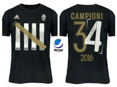 Tshirt Juventus Campioni 34 2016 Tampak Depan Belakang