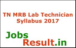 TN MRB Lab Technician Syllabus 2017