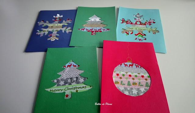 Bulles de Plume DIY Cartes de Noël masking tape