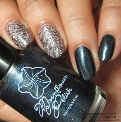 nail polish stamping using  Negra by Moonflower Polish