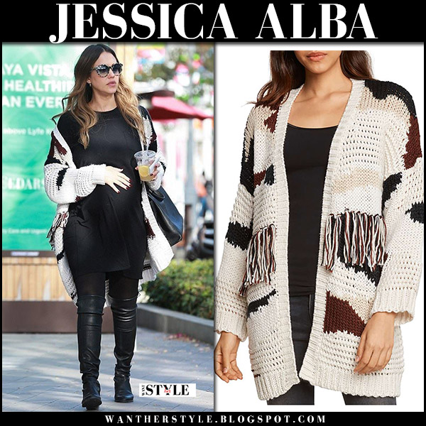 Jessica Alba in oversized knit cardigan willow and clay and black leather boots street style december 18