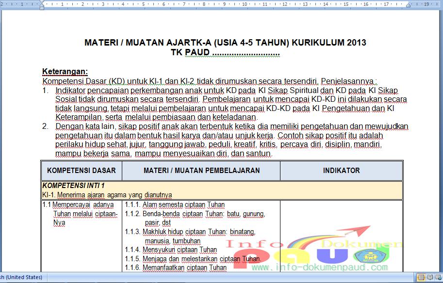 Download Program Semester Paud Contoh Format Program Semester Paud Tk Ra Kurikulum 2013 Untuk