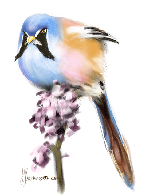 Bearded Reedling bird painting by Artmagenta