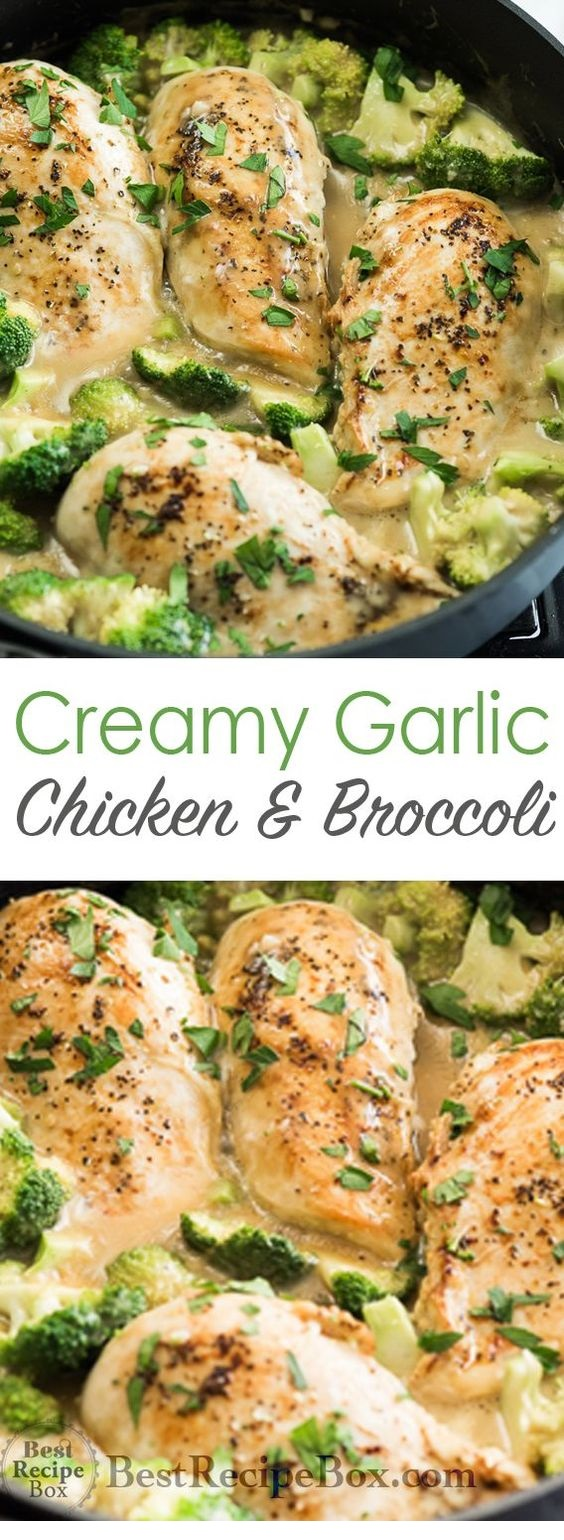 Skillet Creamy Garlic Chicken With Broccoli