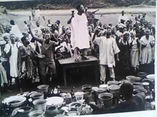 Apostle Joseph Ayo Babalola preaching in a crusade