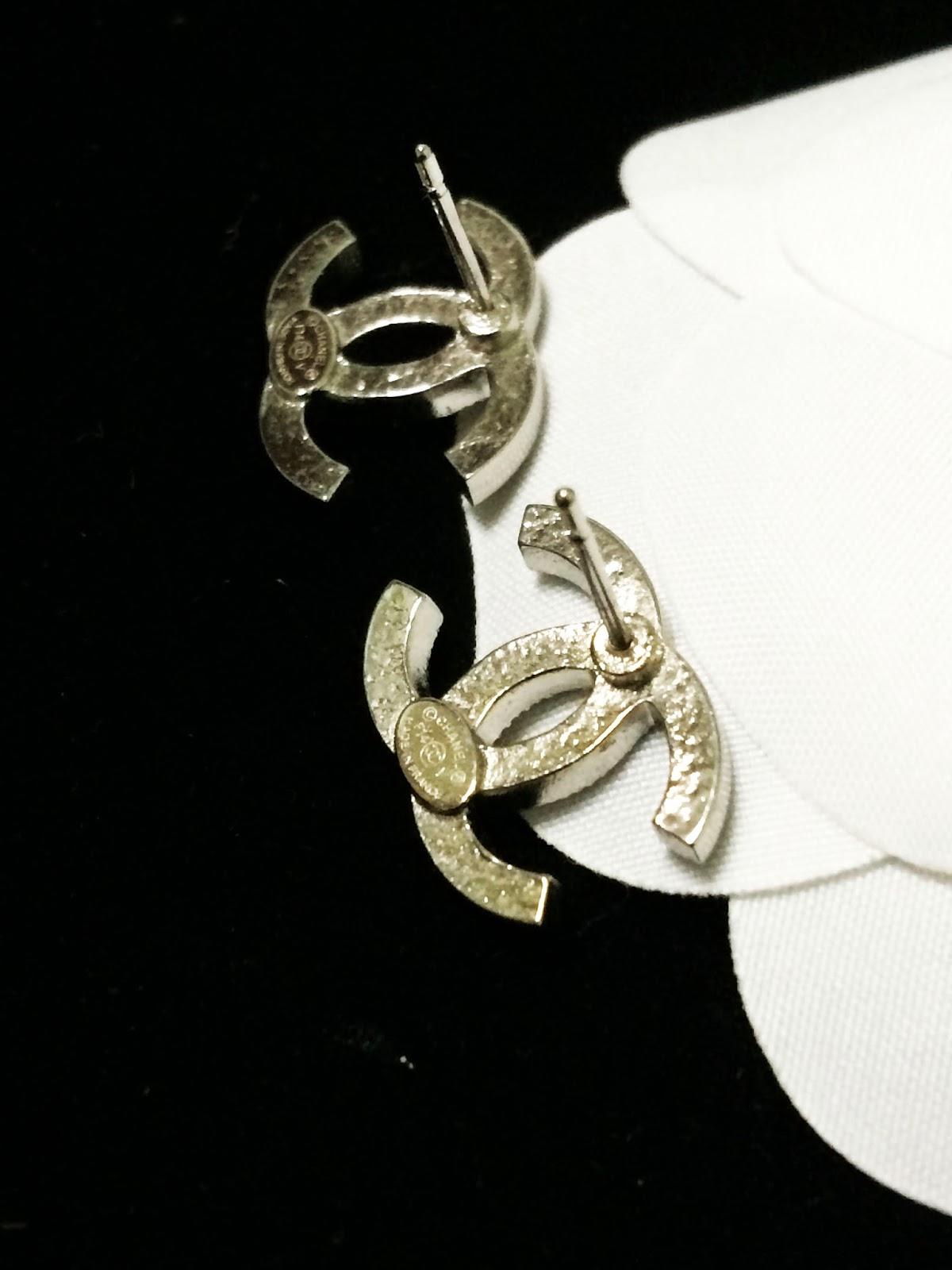 Chanel Logo Pierced Earrings Back Pierced Chanel Fashion ...