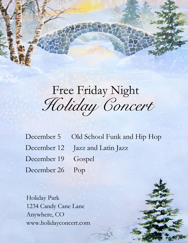 Free Holiday Concert idea on Winter Morn Letter Paper from Idea Art