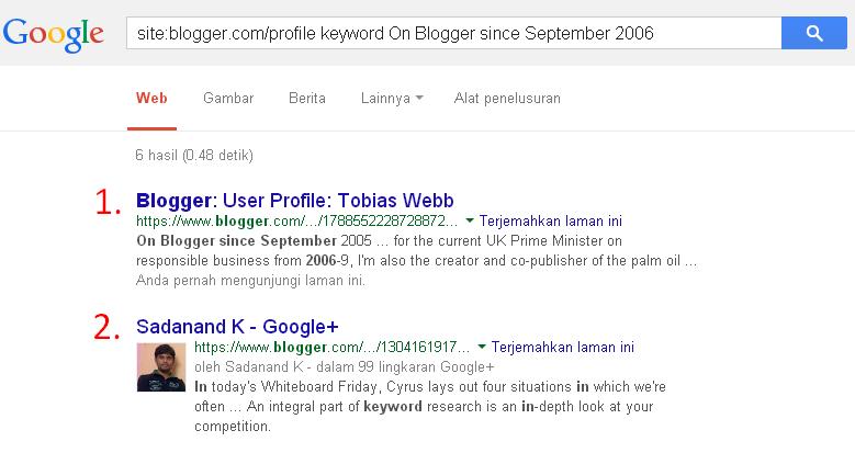 Contoh tehnik footprint dalam mencari Blog Zombie