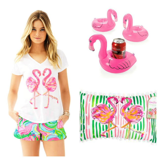 preppy flamingo tshirt inflatable coaster pillow