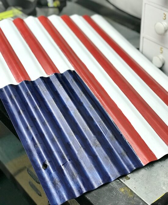 Red, white and blue corrugated flag