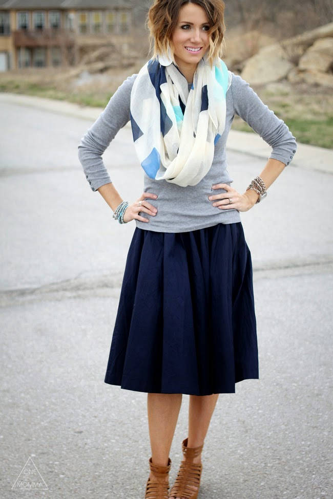 Navy midi skirt, grey tee, printed scarf, gladiator sandals