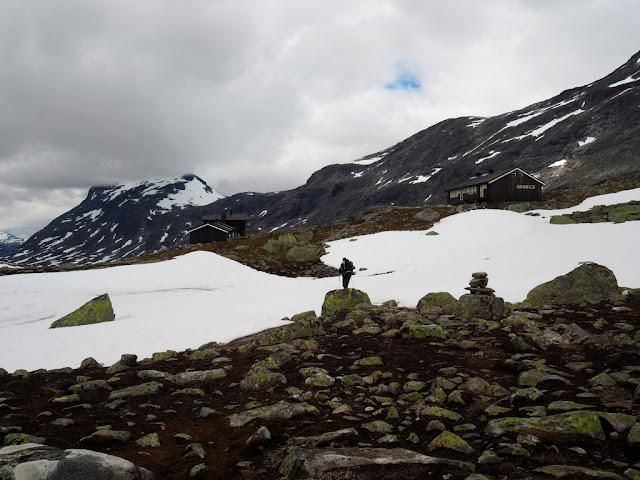 údolí Rauddalen, příroda, sníh, léto, příroda, Norsko, Jotunheimen