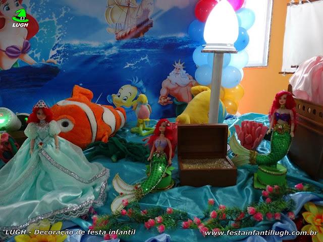Mesa decorada A Pequena Sereia - Aniversário infantil