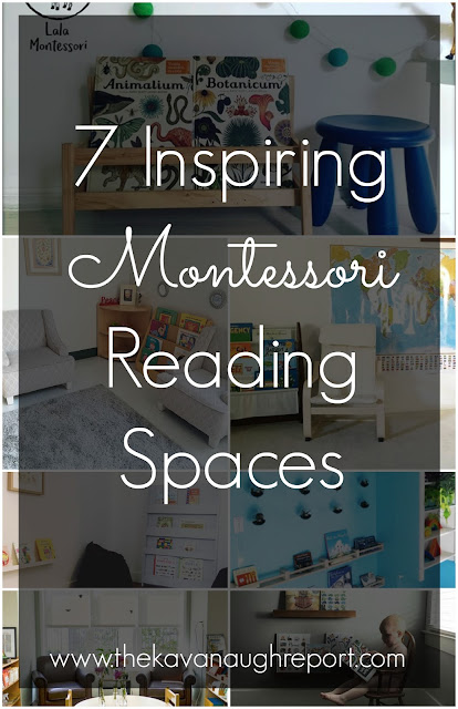 7 inspiring Montessori reading spaces. Great inspiration for creating a Montessori inspired reading space at home.