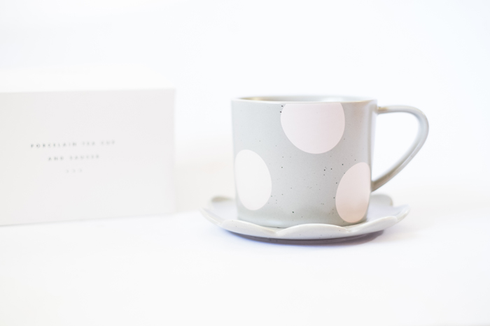 kikki k grey pink polka dot mug