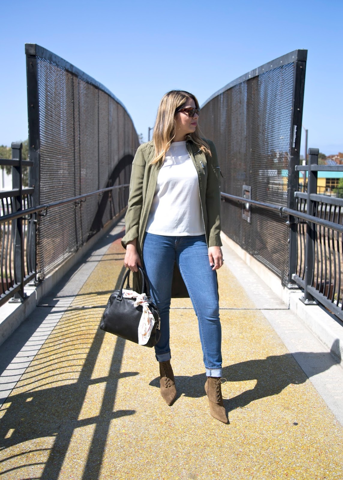 San Diego Fashion Blogger, how to wear a long bomber trench, celine sunglasses