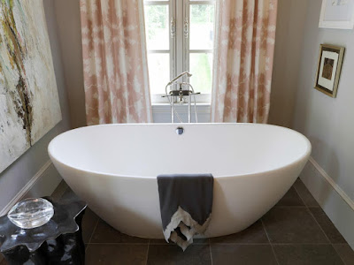 Freestanding Soaker Tub in Transitional Bathroom