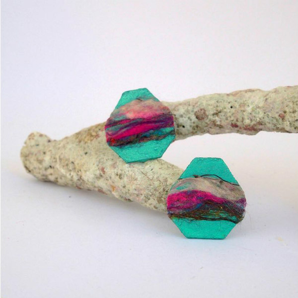 jewel-tone silk thread and paperboard earrings