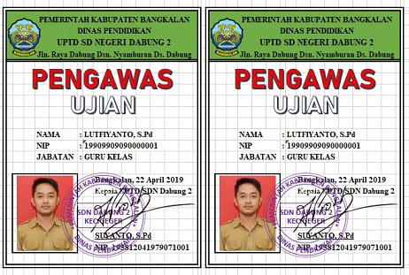 Download Aplikasi ID Card Pengawas Ujian Excel Gratis Tapel 2018/2019