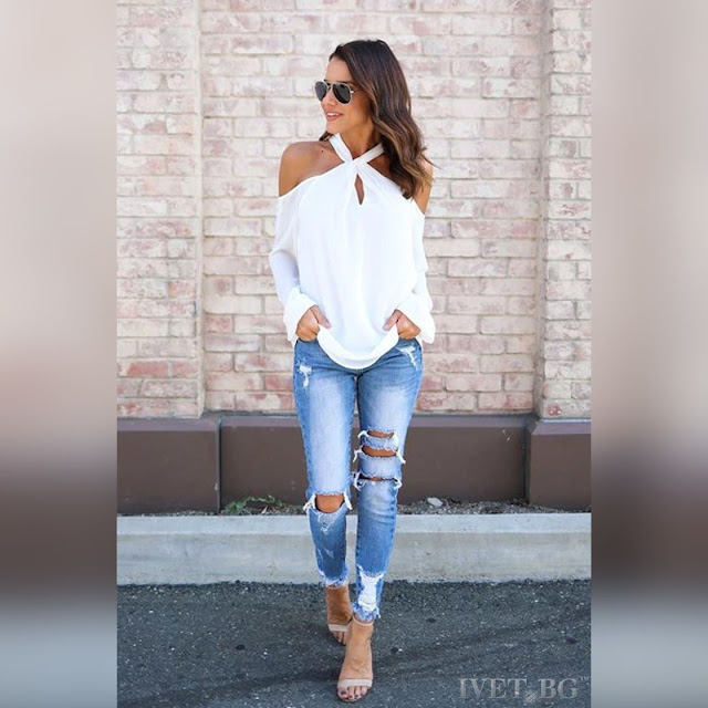 Μακρυμάνικη άσπρη μπλούζα RIHANNA WHITE
