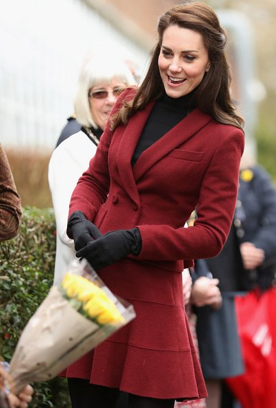 Kate Middleton wore the suit by Paule Ka and wore Kiki McDonough Eternal Citrine Cushion and Diamond Earrings, Stuart Weitzman boots