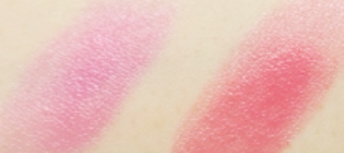 L'Oreal Shine Lipstick Glazed Pink and Polished Tango swatches