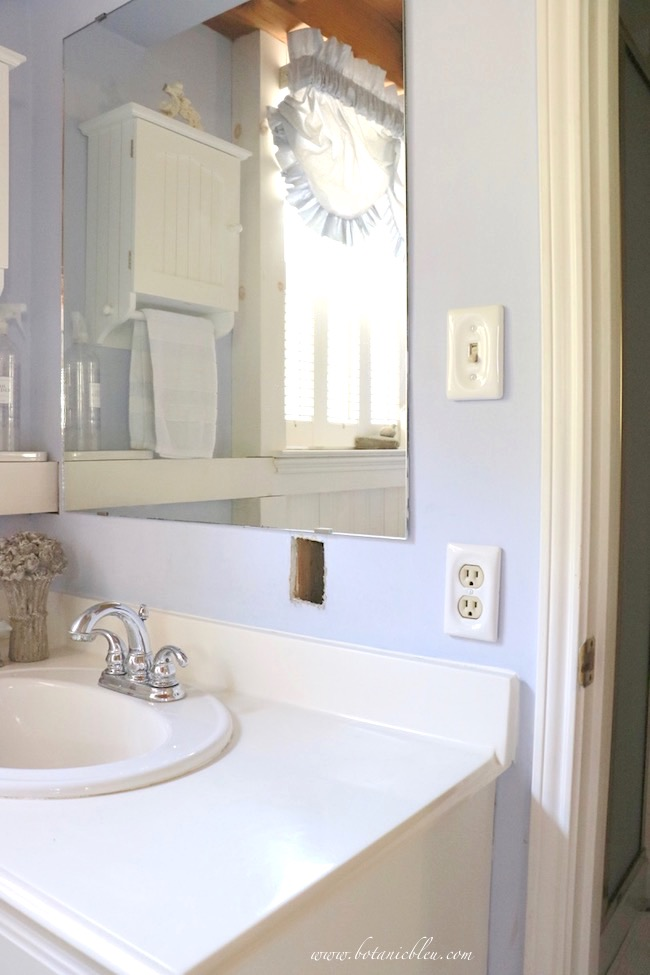 small vanity in master bathroom new electrical covers andwall switch new location