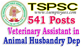 TSPSC Veterinary Assistant in Animal Husbandry Department Notification 2017 Online Application Hall tickets Results