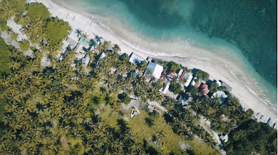A royalty free of aerial drone shot of best beach to visit in indonesia - Pandanan beach Lombok Island