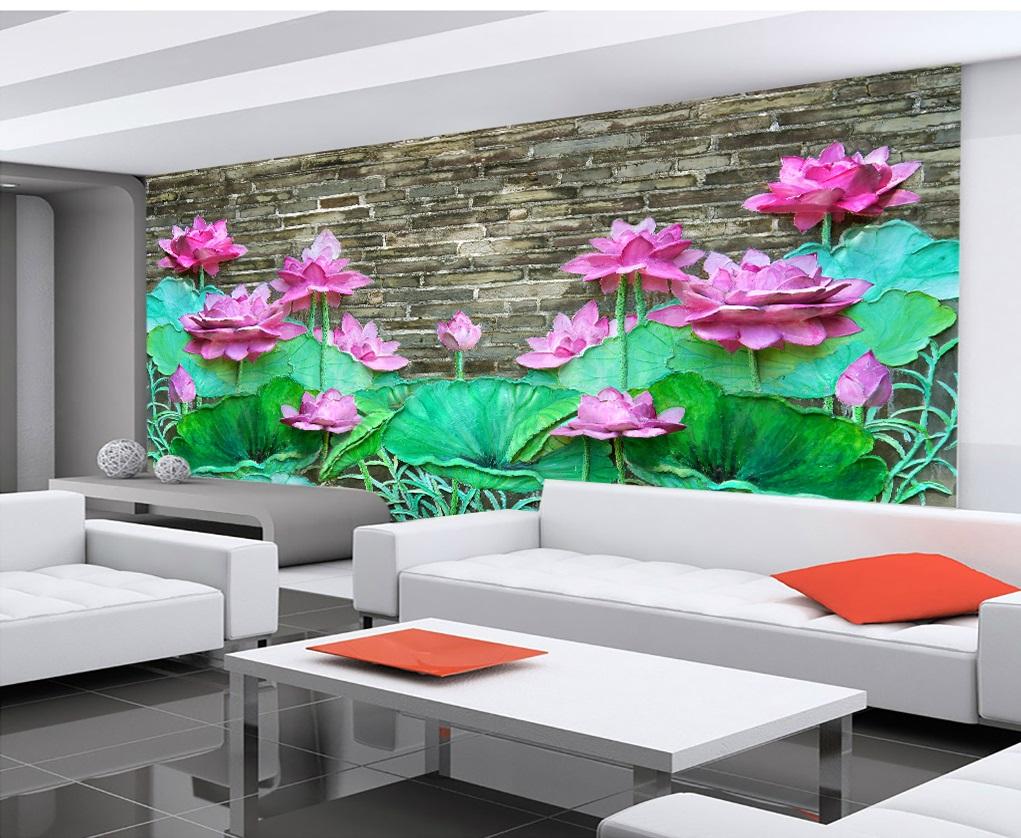 Tranh dán tường 3d hoa sen ngọc bích