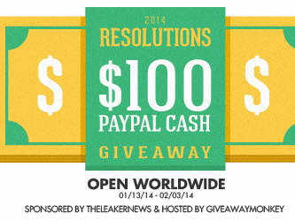$100 Paypal Cash 2014 Resolutions Giveaway  from Giveaway Monkey and The Leaker News