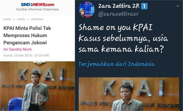 """Minta Polisi Tak Memproses Hukum Pengancam Jokowi, KPAI """"Diskakmat"""" Zara"""